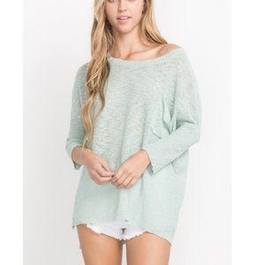 4️⃣Left high low mint pullover